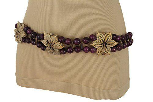 Women Fashion Tie Belt Hip Waist Antique Silver Metal Brown Beads Moroccan M L