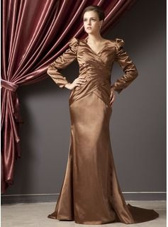 $158.99 - Trumpet/Mermaid V-neck Court Train Charmeuse Mother of the Bride Dress With Ruffle Beading  http://www.dressfirst.com/Trumpet-Mermaid-V-Neck-Court-Train-Charmeuse-Mother-Of-The-Bride-Dress-With-Ruffle-Beading-008014246-g14246