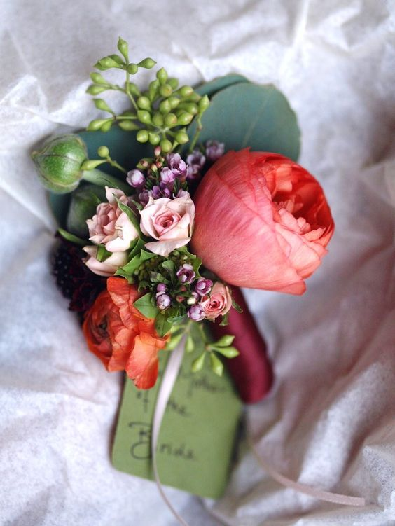 Corsage for Mom for Wedding | Lapel corsage for mom. Made using rononculous, eucalyptus and mini ...