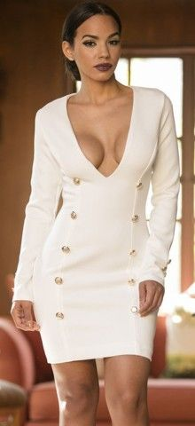 White Long Sleeve Deep V Bodycon Mini Dress