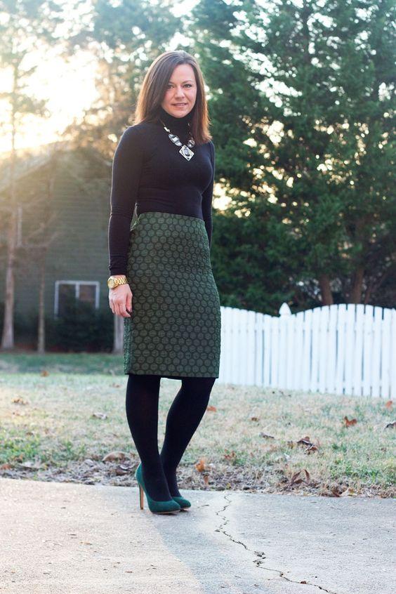 winter work green pencil skirt black turtleneck