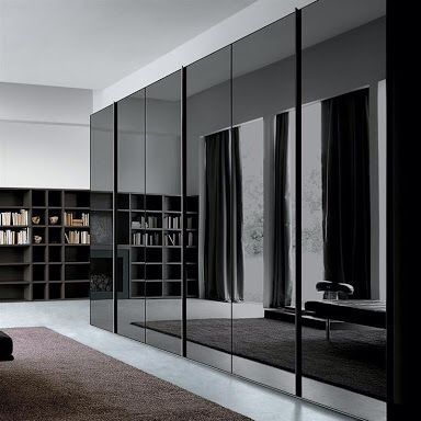 Black smoke grey glass mirror wardrobe charlie 39 s style for Bedroom wardrobe designs bangalore