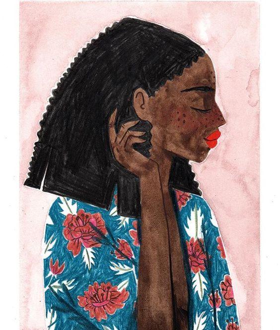 Menina negra com os cabelos atrás da orelha.