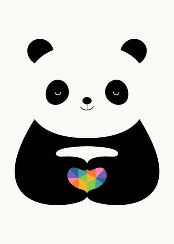 Displate Poster Panda Love - No matter what you are, the only thing that defines us is what inside of our heart : ) panda #love #heart #rainbow #geometric #cute #funny