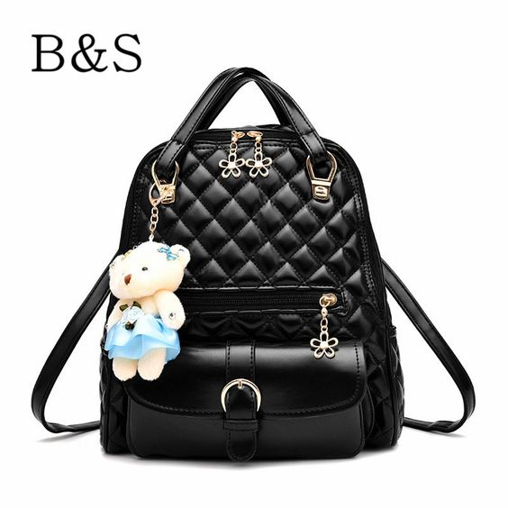 Luxury Diva Quilted Pattern Fashion Design PU Leather Backpack Purse w/Teddy Bear Accent 7 Colors