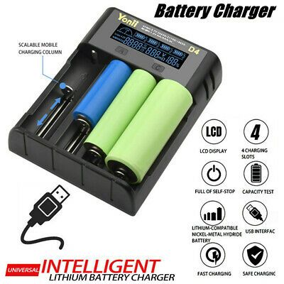 Ad Ebay Link Smart Usb Lcd Charger 4 Slot For 18650 21700 26650 Lithium Aa Aaa Nimh Battery Battery Usb Charger Lithium Battery Charger Usb