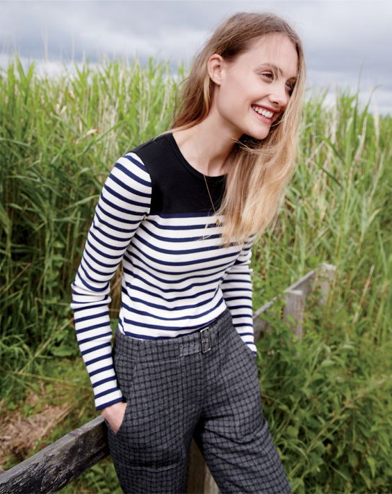 J.Crew women's placed-stripe rib T-shirt and Collection belted pant.