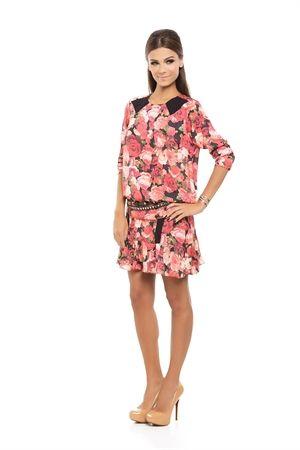 Saia Curta Detalhe Renda Babados Estampa Floral Vermelho - roupas-saias-iorane-f-saia-curta-detalhe-renda-babados-estampa-floral-vermelho Iorane