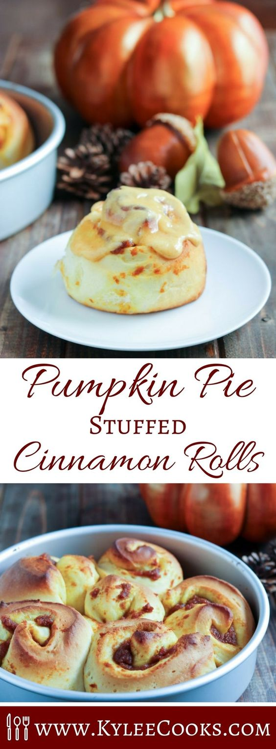 Scrumptious Cinnamon Rolls filled with pumpkin pie stuffed flavor, rolled and baked, then slathered with a spice-spiked cream cheese frosting. Hello, Fall! #breadbakers