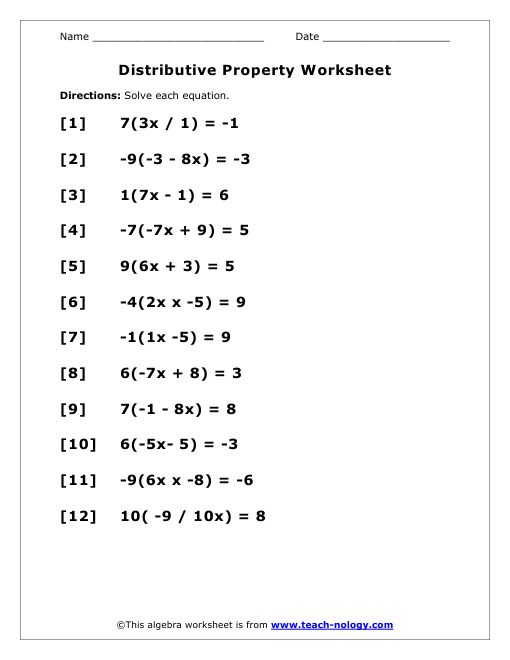 Solving Equations With Distributive Property Worksheet Distributive Property Algebra Worksheets Solving Equations