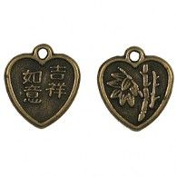 Good Luck Heart Findings Chinese Asian Charm - Charms & Embellishments | Hanko Designs