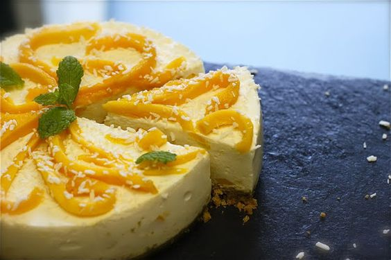 Mango, coconut, and cardamom cheesecake from Nutmegs Seven