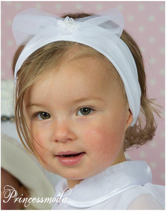 EM-27 Strahlend Weiß! IHR Stirnband! - Princessmoda - Alles für Taufe Kommunion und festliche Anlässe