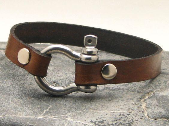 EXPRESS Versand Männer Leder-Armband braun Leder von eliziatelye