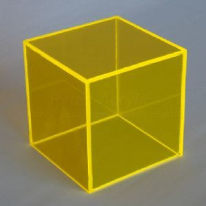 50cm - Fluorescent Yellow Acrylic Display Cube / Box Table base