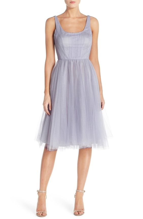 Free shipping and returns on Donna Morgan 'Chantal' Tulle Fit & Flare Midi Dress at Nordstrom.com. An ethereal tulle party dress flaunts a classically elegant look inspired by prima ballerinas with a sweetly ruched tank bodice and softly full midi-length skirt.