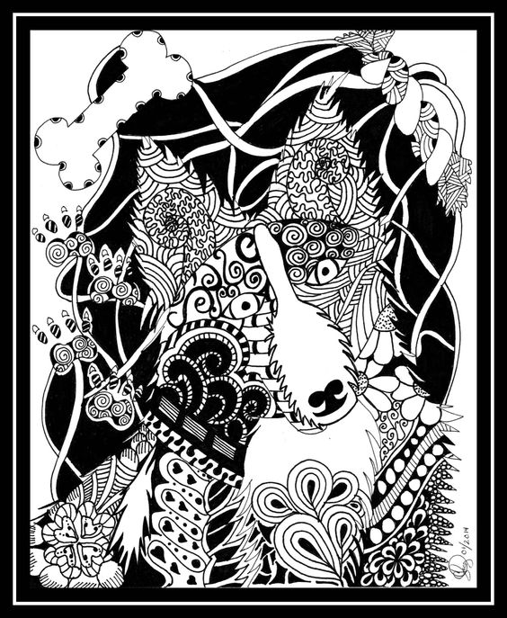 Border collie zentangle dog zentangle when i need some for Border collie coloring pages