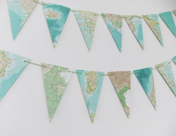 Garland of Map bunting - upcycled garland made from a vintage world atlas - wedding decor - recycled banner