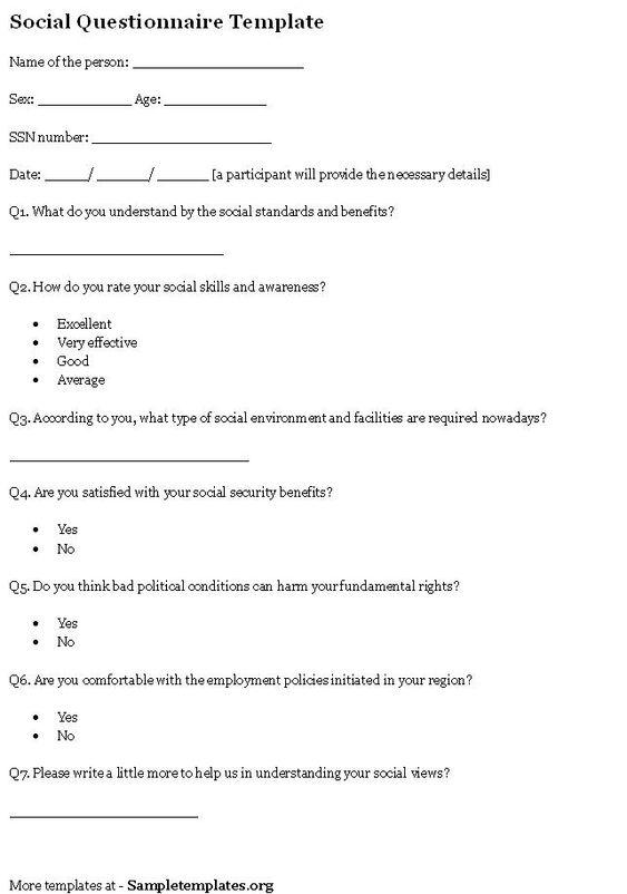 Social Questionnaire Template | Sample Questionnaires | Pinterest ...