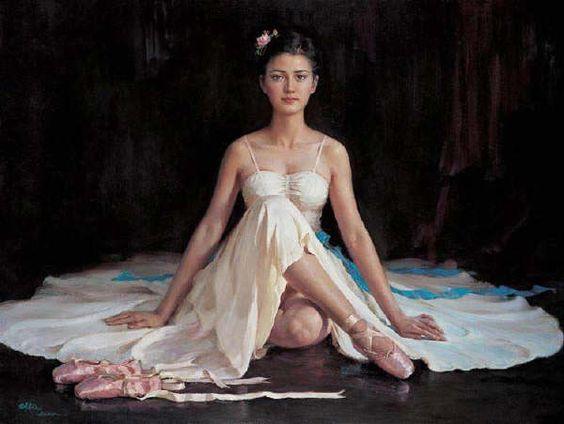 Guan zeju white gauze skirt Painting