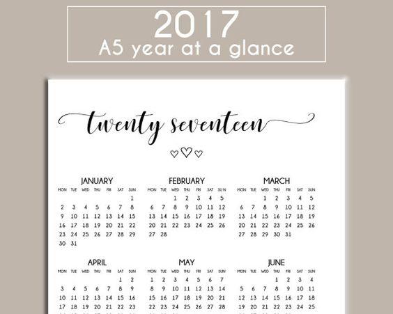 year at a glance calendar 2017 pdf
