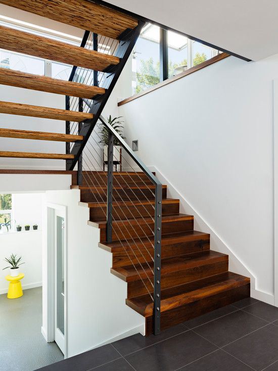 Pictures of mid century iron hand railing for stairs for Modern wood stairs