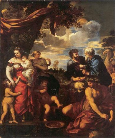 The meeting of Jacob and Laban by Pietro da Cortona: