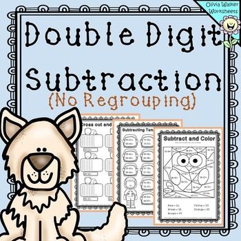 Double Digit (Two Digit) Subtraction - No Regrouping - Worksheets ...