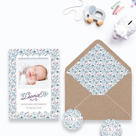 Babykarte Geburtskarte Liberty Cherie für Mädchen  von BonjourPaper auf DaWanda.com #bonjourpaper #geburtskarte #geburtskarten #babykarten #babykarte #liberty