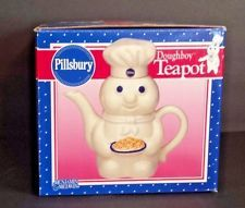 Pillsbury Dough Boy Teapot White 1998 Ceramic Pottery Benjamin Medwin NOS