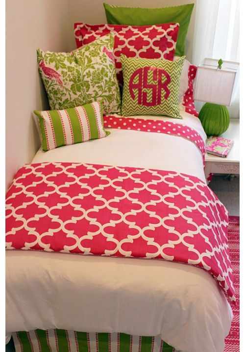 Preppy Pink & Green Designer Teen & Dorm Bed in a Bag | Teen Girl Dorm Room Bedding: