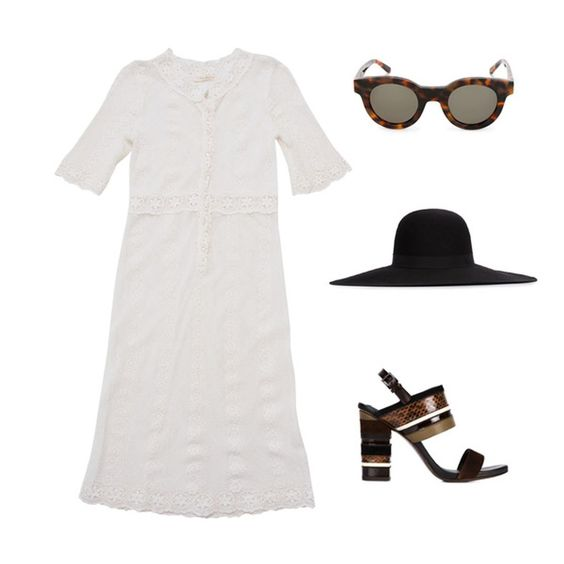 △ BARELY THERE △ Contrast Stevie's Audrey Lace Dress with Tory Burch heels, Maison Michel wide brimmed hat and Sun Buddies sunglasses. Shop the dress online www.steviemay.com.au #steviemay #lace #dress #designer #style
