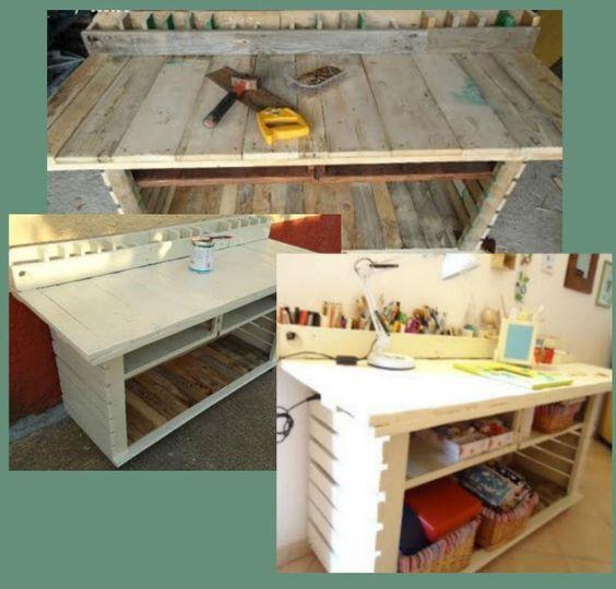 Bureau En Palette De Bois : Bureau en bois, Tables en palettes de bois and Palettes on Pinterest