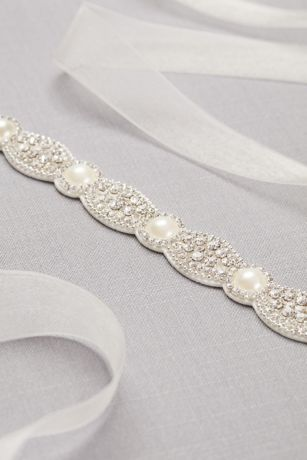 Scalloped Crystal And Pearl Sash Style Blt9280 Silver In