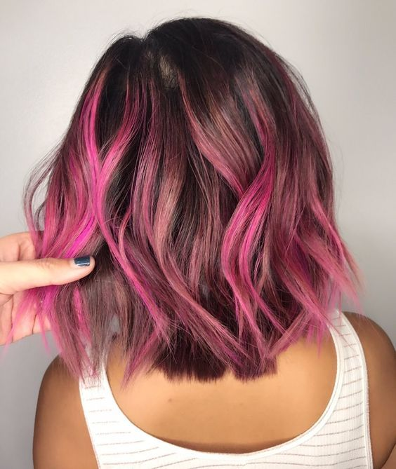 Pin By Samantha Young On Curly Hair Hair Styles Pink Hair Highlights Pink Ombre Hair
