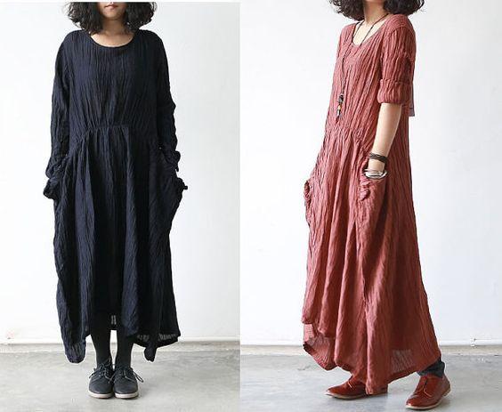 Women Burgundy/Black Cotton Linen Dress Loose Fit Dress Long ...