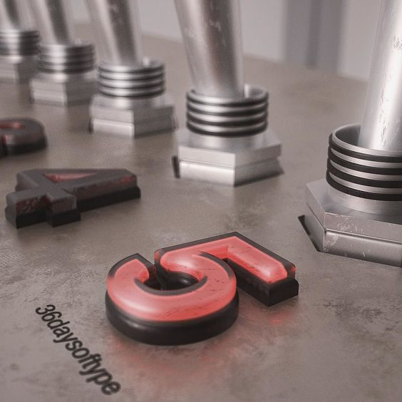 """""""5"""" for #36daysoftype #36days_5 Launch the five   #5 #type #typography #c4d #cinema4d #3d #3dtype #cgi #render #design #creative #inspiration #photoshop #realism by larsallenberg"""