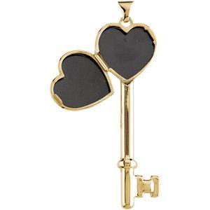 14K Yellow Gold X Key Heart Locket With Diamond Cut Pattern