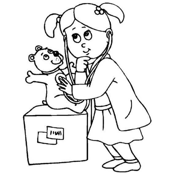 Playing Doctor Working At Hospital Coloring Pages Bulk Color Coloring Pages Coloring Pages For Kids Preschool Coloring Pages
