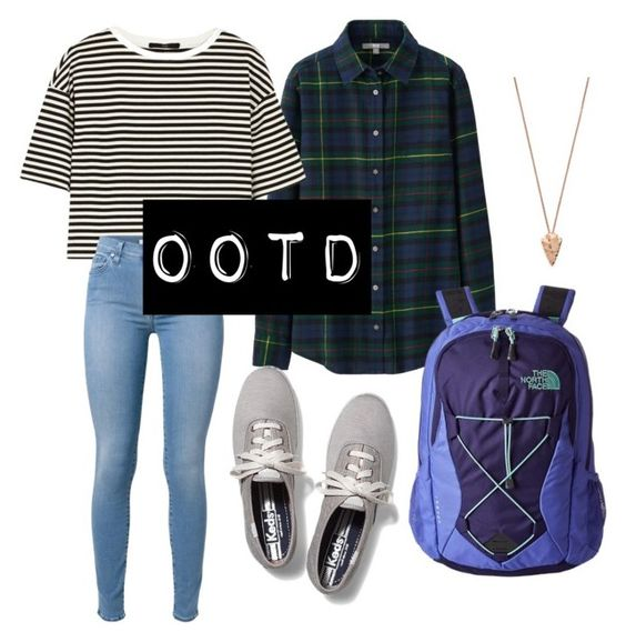 """""""OOTD 8/31/15"""" by laynehether on Polyvore featuring Uniqlo, TIBI, 7 For All Mankind, Keds, The North Face and Pamela Love"""