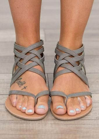 Open Toe Lace Up Summer Flat Sandals – Adoreshe | Frauen
