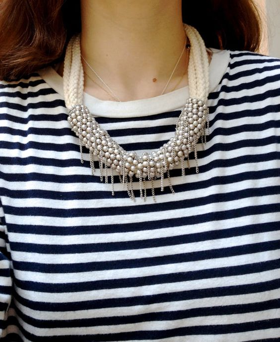 Statement Necklace Bulky Off white rope by SokoShopLondon on Etsy, £18.00