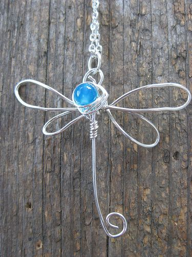 Crossley Design--Sterling silver wire wrapped and hammered dragonfly pendant with ocean agate.  https://www.facebook.com/CrossleyDesign?ref=hl