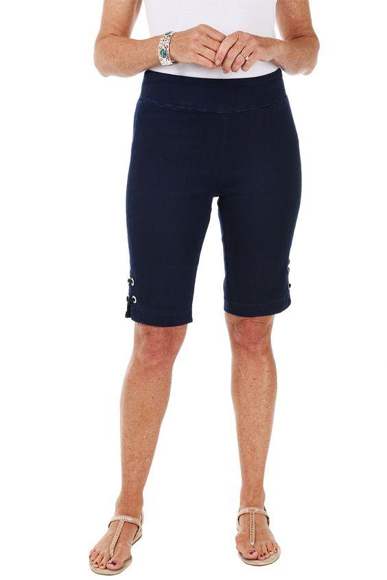 Denim Circle Pull-On Bermuda Shorts