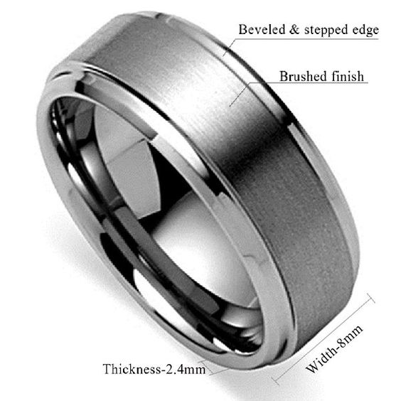 king will 8mm polished beveled edge matte brushed finish With brushed beveled edge wedding ring
