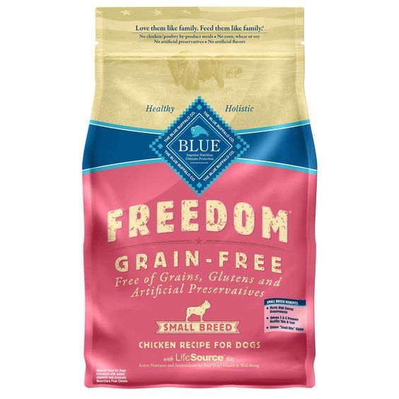 Blue Buffalo Small Breed Freedom Grain Free Chicken Recipe Adult Dog Food - 11 lbs. Grain, gluten and artificial preservative free dog food made just for small breed adult dogs. Unique small bite kibble, rich in omega fatty acids and formulated to meet the high energy needs of small breed dogs. - http://www.petco.com/shop/en/petcostore/blue-buffalo-small-breed-freedom-grain-free-chicken-recipe-adult-dog-food