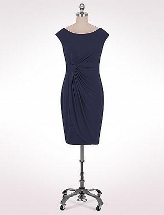 Cap-Sleeve Faux Sarong Dress | Dressbarn