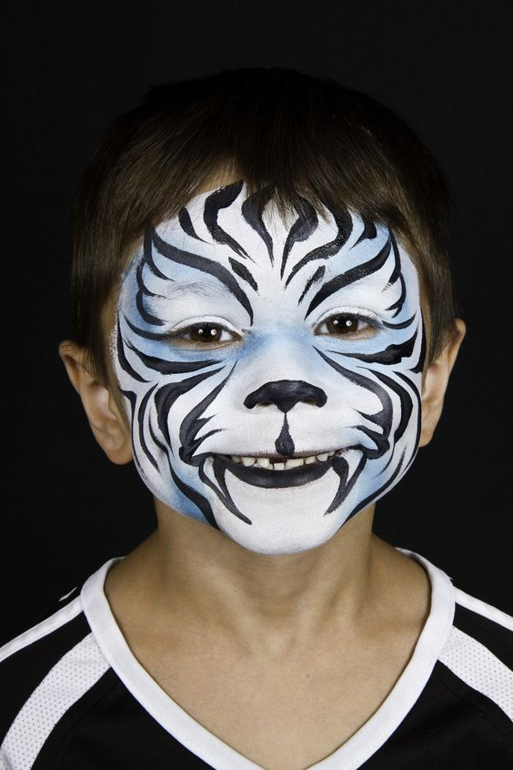 Gallery For gt White Tiger Half Face Paint