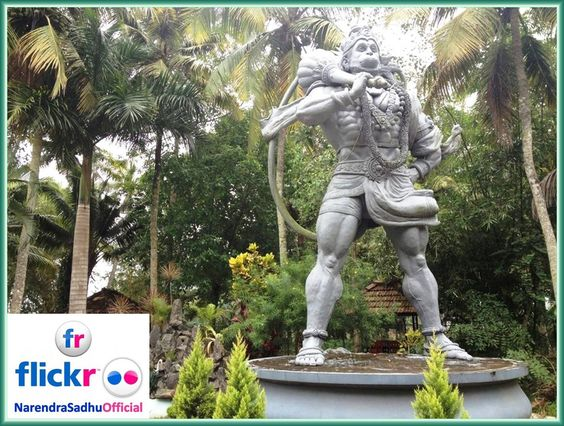 Tallest statue of Lord Veer Bajrang Bali is situated at Athreya Ayurvedic Resort; Pakkil village under Pallom taluka belongs to Kottayam district in the Indian state of Kerala. It is located at a distance of 98 kms from Cochin International Airport, 8 kms from Railway Station Kottayam and 10 kms from Bus stand. The Resort is built with traditional wood put together in an ethnic framework which is not only unusual but a form of ancient style which is truly a feast for the eyes.