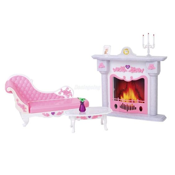 Dollhouse Miniature Fireplace Play Set for Barbie Dolls #Unbranded